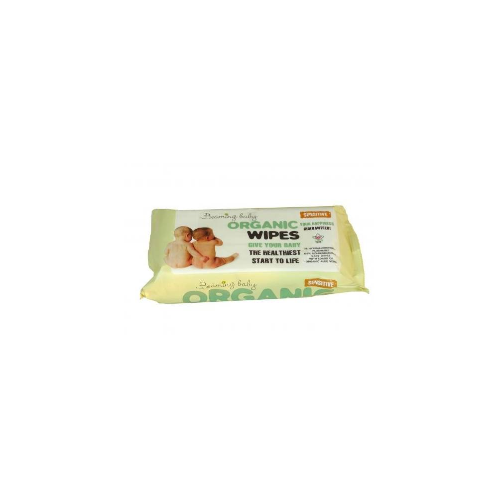 Beaming Baby, Organiczne Chusteczki Nawilżane - do skóry bardzo delikatnej, 72 szt.
