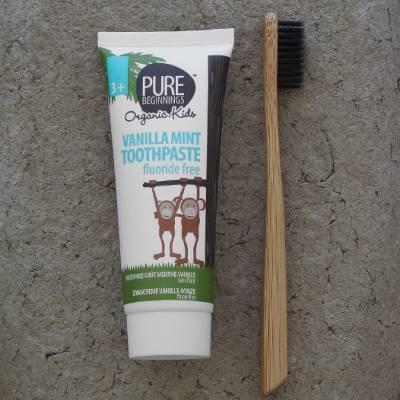 Pure Beginnings Organic Kids, Pasta do Zębów bez fluoru z Ksylitolem o smaku Waniliowej Mięty, 75ml