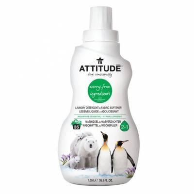 Attitude, 2 w 1 Płyn do prania i płukania Górska Świeżość (Mountain Essentials) 35 prań - 1040 ml