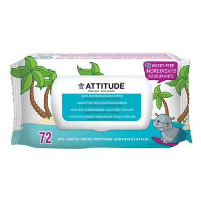 Attitude, Bezzapachowe nawilżane chusteczki dla niemowląt (fragrance free)  3x72 szt