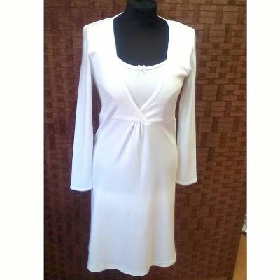 DO SPANIA I KĄPANIA, Koszula nocna z długim rękawem, biała Nanaf Organic,