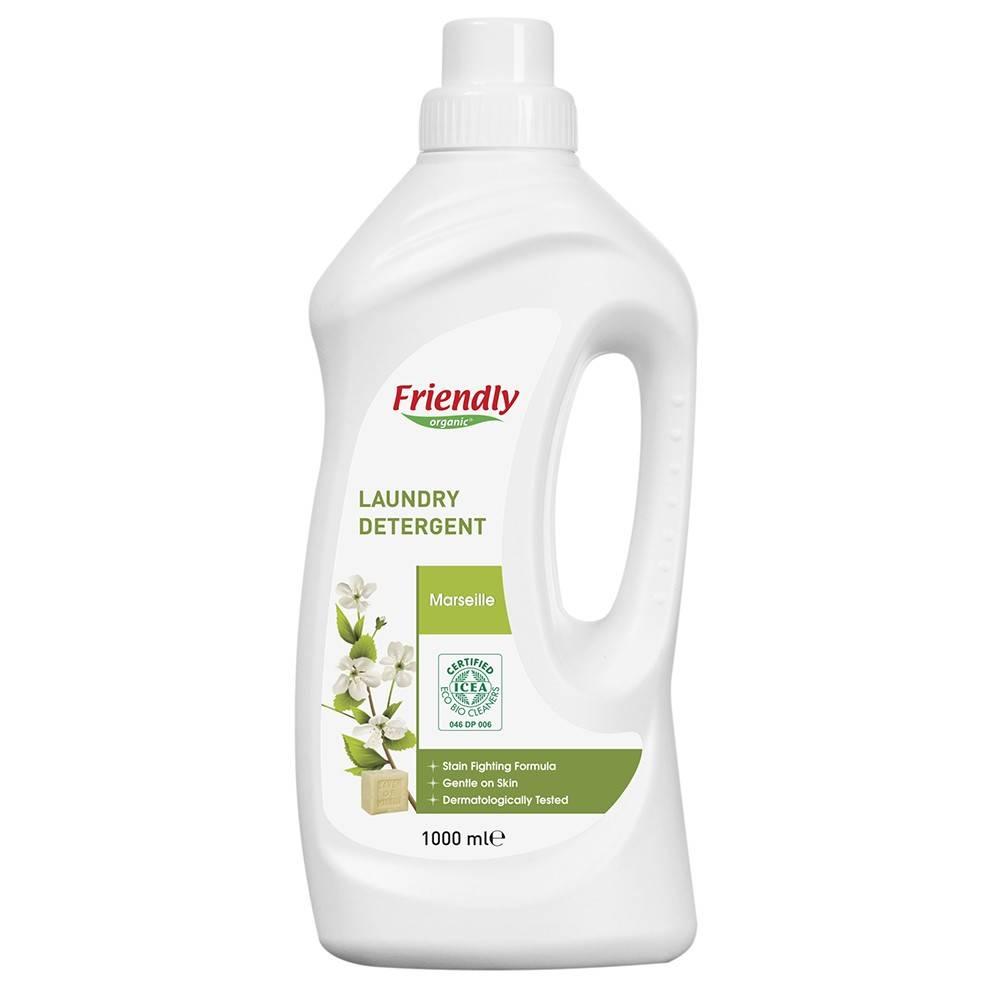 Friendly Organic, Płyn do prania ubrań, mydło marsylskie, 1L, 20 prań