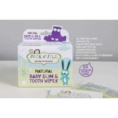 Jack N'Jill, Naturalne chusteczki do mycia dziąseł niemowląt, 25 szt.