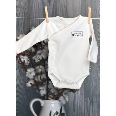 Body kimono z długim rękawem, BASIC białe Nanaf Organic