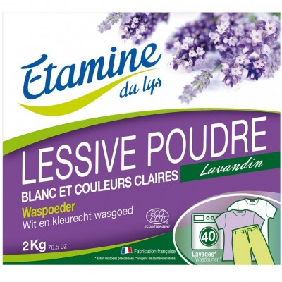 Proszek do prania tkanin białych i o trwałych kolorach organiczna lawenda, 2 kg- Etamine du Lys