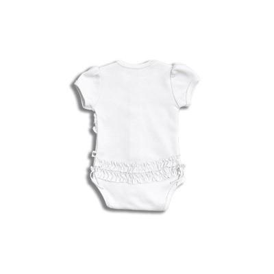 Nanaf Organic, RETRO, Body rozpinane z krótkim rękawem, białe