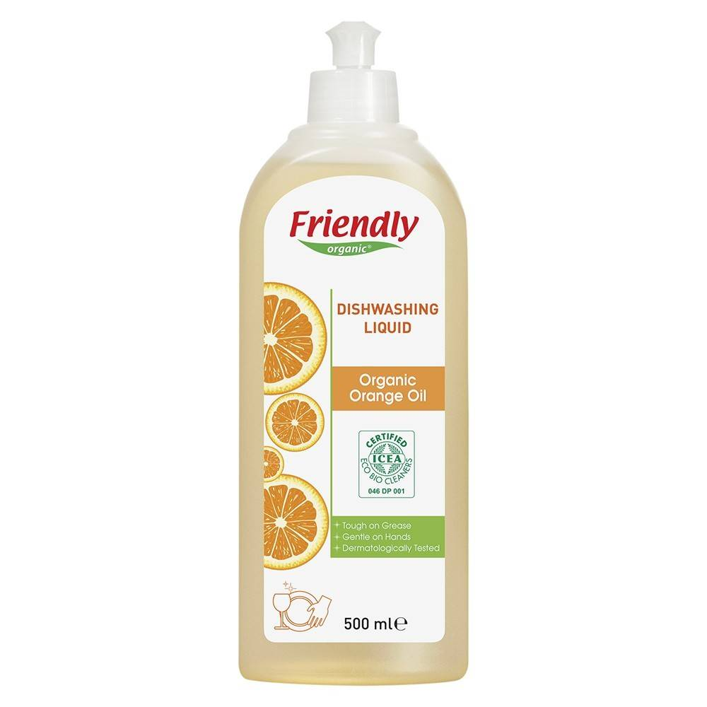 Friendly Organic, Płyn do mycia naczyń, pomarańczowy, 500 ml