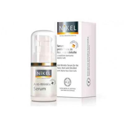 Przeciwzmarszczkowe serum twarz, szyja, dekolt, z komórkami macierzystymi z róży alpejskiej, 15 ml, NIKEL